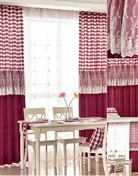 Country Burgundy Red Plaid Buffalo Check Lace Trim Dining Room Curtains