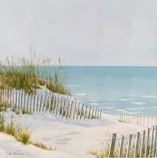 Serene Beach Dune Fence And Ocean Art Beach Scene Painting Beach Mural Ocean Art