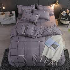 2019 style gray grid bedding sets duvet