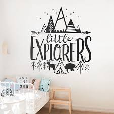 Little Explorer Vinyl Wall Stickers For Baby Nursery Removable Wall Decals Kids Room Woodland Adventure Home Art Decor Wallpaper Wall Stickers Aliexpress