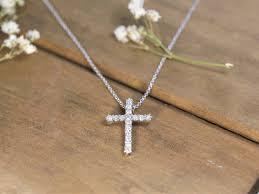 diamond cross 14k white gold