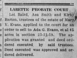 Evans Parsons Ground - Sold to Ada Evans - Newspapers.com