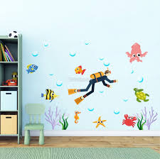 Kids Cartoon Sea Underwater With Fish Man Wall Decal Sticker Wall Decals Wallmur