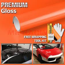 Premium Gloss Glossy Orange Car Vinyl Wrap Sticker Decal Air Release Bubble Ebay