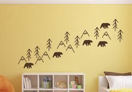 Nursery Wall Decals Woodland Bears Trees Mountains Baby Room Decoration Chocolate Brown Walmart Com Walmart Com