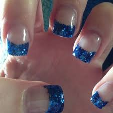 blue and silver acrylic nail designs