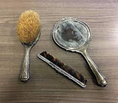 german toilet set in 835 silver brush