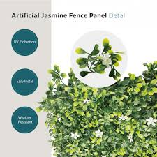 Garden Decors Depot Ecoopts Privacy 20 X 20 Artificial Jasmine Fence Greenery Panel For Outdor Indoor Backyard Garden Privacy Fence Ivy Screen Decoration Faux Ivy Customize
