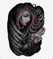 angel sad gangster tattoo chain