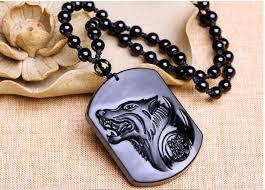 quartz crystal black obsidian wolf