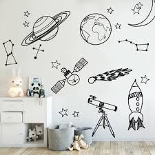 Diy Wall Stickers For Kid Room Astronomy Tool Space Astronomy School Deocr Mural Vinyl Decal Removable Nursery Wall Decals La888 Leather Bag