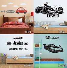 Personized Race Car Wall Stickers Home Decor Diy Poster Decals Kids Room Nursery Mural Vinyl Customized Name Tractor Car For Boy Cars Wall Stickers Name Wall Stickerswall Sticker Aliexpress