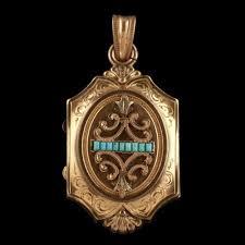 turquoise locket gold gilt circa 1890