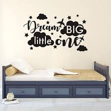 Quote Wall Decal Dream Big Little One Decal Baby Room Decor Quote F Accent Pillow Case Baby Burlap Nursery