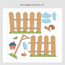 Picket Fence Wall Decal Playroom Wall Stickers Wallums