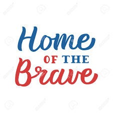 home of the brave patriotic hand lettering quote blue and