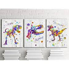 Amazon Com Lovehouse 3 Panel Dinosaur Canvas Art Wall Decor For Kids Room Decoration Abstract Animal Colorful Artwork Painting Framed Bedroom Bathroom Boys Room Decor Stretched Ready To Hang 12 X16 X3pcs Posters Prints