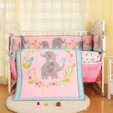 girl baby bedding set elephant flower