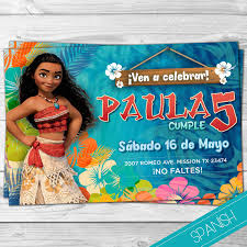 Moana Invitacion Espanol Princesa Disney Mona Espanol Invitation Moana Spanish Hawaii Pe Invitaciones De Moana Fiesta De Moana Invitaciones De Mohana