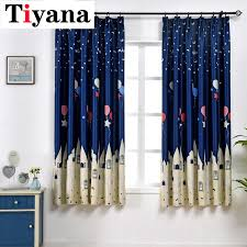 Dark Blue Balloon Curtains Kids Blackout Window Curtain Children Room Home Decor Coffee Color Cartoon Castle Drapes Pc25x Curtains Aliexpress