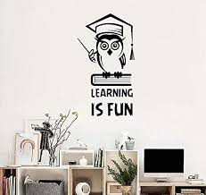 Learning Is Fun Inspirational Quote Wall Stickers Education Owl Book Vinyl Sticker Kids Room Bedroom Decoration School Decals 42x75cm Wantitall