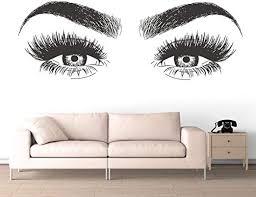 Amazon Com Ljqta Wall Sticker Beauty Salon Decoration Long Lashes Vinyl Wall Sticker Eyelashes Eyebrows Vinyl Decal Removable Eye Lashes Wallpaper Home Kitchen