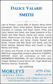 DALICE VALARIE SMITH   Funeral Notices   Townsville   The Mercury