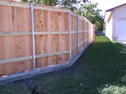 Board On Board Cedar Fence With Concrete Footer Cedar Fence Backyard Fences Fence Design