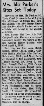 Ida Rutherford Heflin Parker obituary - Newspapers.com