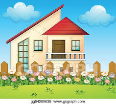 Vector Art A Big House Inside The Fence Clipart Drawing Gg64289638 Gograph