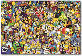 Amazon Com The Simpsons All Characters Cartoon Wall Art Home Wall Decorations For Bedroom Living Room Oil Paintings Canvas Prints 1000 Framed 16x24inch Posters Prints