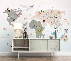 Amazon Com Murwall Kids Wallpaper Child World Map Wall Murals Animals Wall Decor Boys Girls Bedroom Nursery Wall Art Baby Room Wall Painting Art Handmade