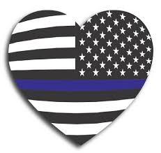 Thin Blue Line American Flag Heart 5 Car