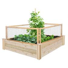 Greenes Fence 4 Ft X 4 Ft X 10 5 In Original Cedar Raised Garden Bed With Critterguard Fence System Rc4t12bcg With Images Diy Raised Garden Building A Raised Garden Raised Garden Bed Kits