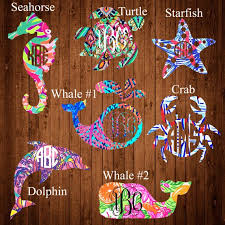 Lilly Pulitzer Inspired Sea Life Monogram Decal Sea Turtle Crab Whale Starfish Dolphin Sea Horse Monogram Decal Monogram Stickers Lilly Pulitzer Inspired
