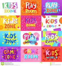 Game Room Vector Kids Playroom Banner In Cartoon Style For Children Play Zone Decoration Illustration Set Of Childish Stock Vector Illustration Of Cartoon Childish 120894788