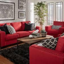 red living room decor