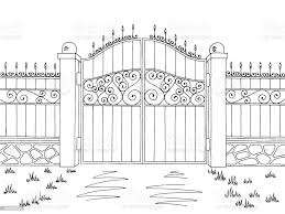 Wall Fence Gate Graphic Black White Landscape Sketch Illustration Vector Stock Illustration Download Image Now Istock