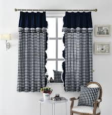 Buffalo Check Country Black And White Linen Kitchen Dining Room Curtains