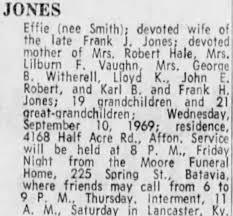 Obituary for Effie JONES - Newspapers.com