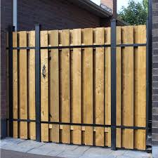 Slipfence 4 Ft X 6 Ft Wood And Aluminum Fence Gate Sf2 Gk100 The Home Depot Aluminum Fence Gate Wood Fence Gates Metal Fence Gates