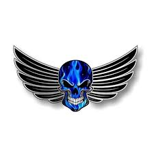 Gothic Skull With Wings Motif Electric Blue Flames External Vinyl Decal Decorate Car Sticker Wish