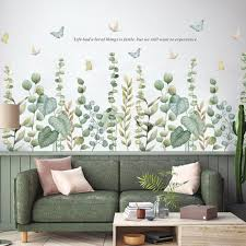 Romatic Growing From Buttom Flowers Wall Decal Green Nature Etsy
