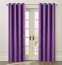 Amazon Com Purple Blackout Stars Curtains Cute Twinkle Gold Star For Kids Bedroom Light Block Energy Efficient Cosmic Theme Perfect For Boys And Girls Living Room Eyelet Rings Top 84 Inch Length 1 Pair