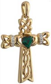 celtic cross necklace gold plated