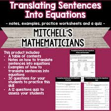 translating sentences into equations by