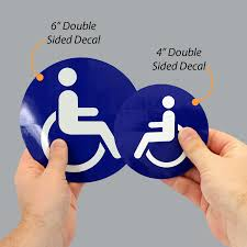 Handicap Logo Sign Decal Sticker Set Of 2 6x6 In Retail Services Business Signs