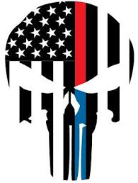 Thin Red Blue Line Flag Punisher Skull Reflective Rear Window Decal Police Fire Ems Viny Graphics Stickers Decals Dkedecals