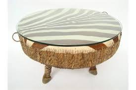 a large african zebra skin floor drum