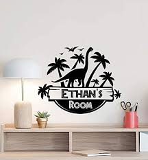 Amazon Com Personalized Jurassic Park Wall Decal Custom Boy Room Door Sign Dinosaur Nursery Decor Gift Vinyl Sticker Kids Name Print Boys Wall Made In Usa Fast Delivery Home Kitchen